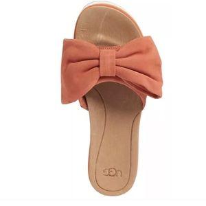 ad5bb34cd27 UGG Shoes - UGG JOAN CORAL SUEDE BOW PLATFORM SLIDE SANDALS